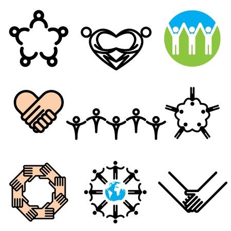 fraternidad: iconos dibujados a mano en la unidad vector Vectores