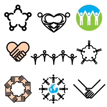 volunteer: unity hand drawn icons in vector Illustration