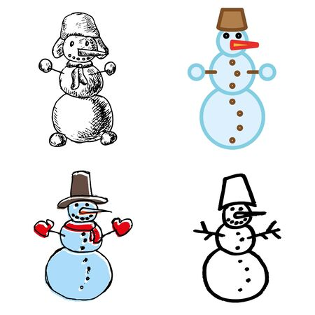 snowman hand-drawn icons set  Vector