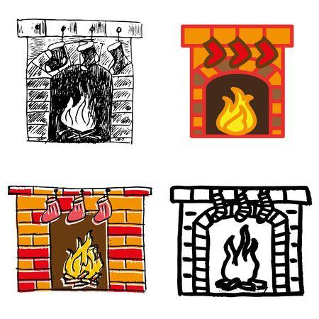 fireplace christmas: christmas fireplace hand-drawn icons set