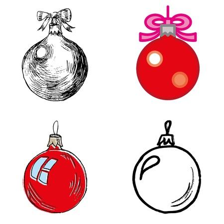 christmas ball hand-drawn icons set  Stock Vector - 16574768