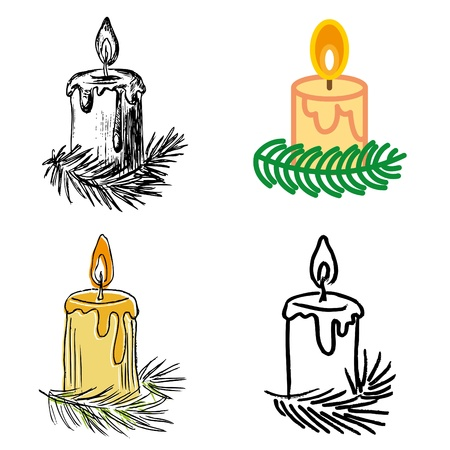 white candle: christmas candle hand-drawn icons set  Illustration