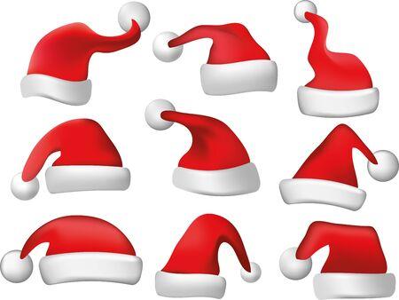 christmas hat: santa hats photo-realistic illustration Illustration