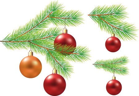 christmas tree branch with balls photo-realistic illustration Vector