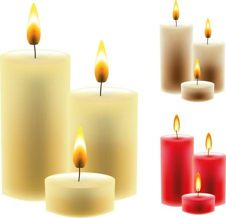 velas de navidad: navidad foto-realista ilustración velas Vectores