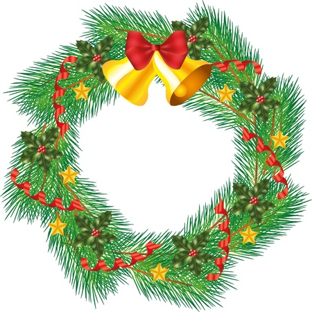 christmas decorated wreath with jingle bells photo-realistic illustration Stock Vector - 16578245