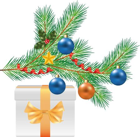 christmas tree branch with decorations and white gift photo-realistic illustration Vector