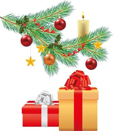 christmas tree branch with decorations and two gifts photo-realistic illustration Vector