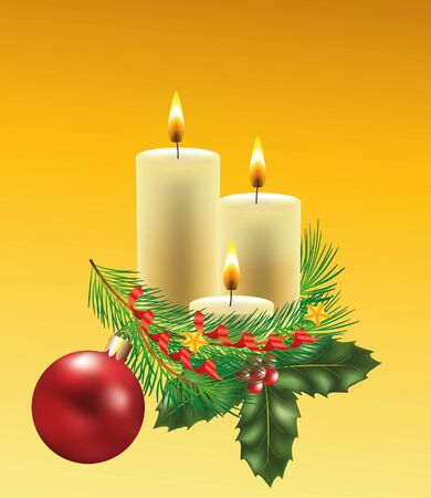 christmas candles with decorated fir-tree branch photo-realistic illustration Vector