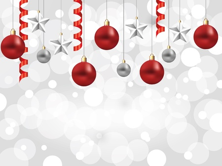 shiny snowflakes white christmas horizontal background with balls and stars