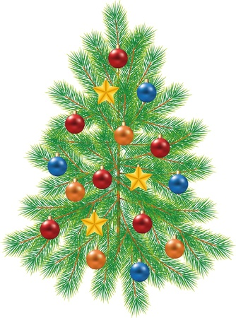 christmas tree, green fir-tree decorated with balls ans stars photo-realistic illustration Vector