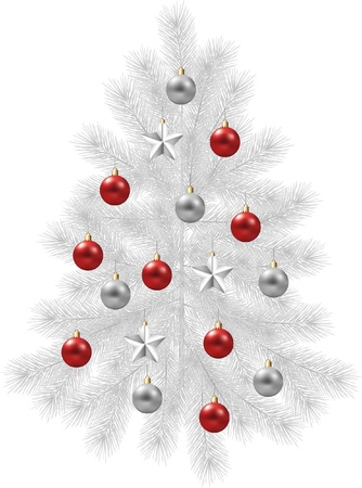 christmas photo frame: christmas tree, white fir-tree decorated with balls ans stars photo-realistic illustration