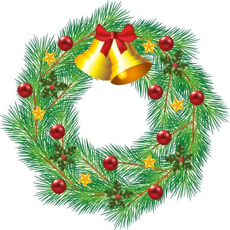 christmas decorated wreath with jingle bells and balls photo-realistic illustration Vector