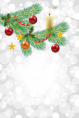 shiny snowflakes white christmas vertical background with decorated fir-tree branch Illustration