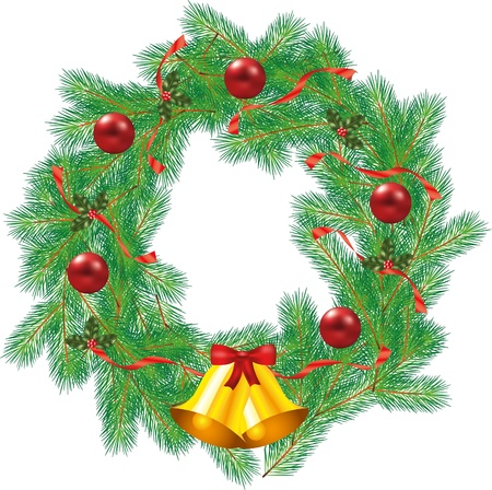 christmas decorated wreath with jingle bells photo-realistic illustration Vector