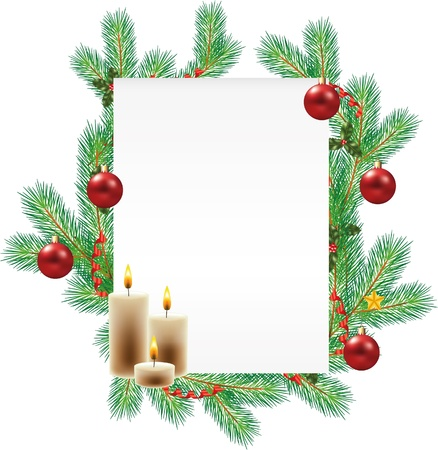 vertical blank sheet and decorated fir-tree branches on back photo-realistic illustration Vector