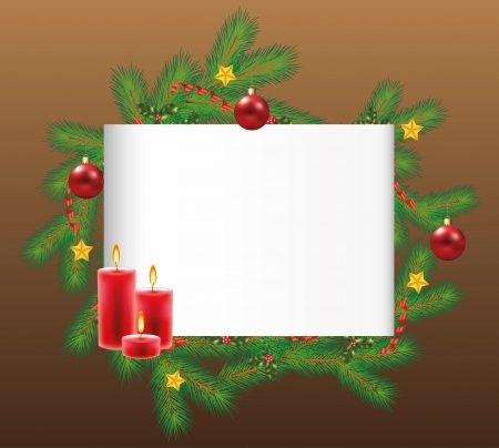brown: horizontal blank sheet and decorated fir-tree branches on dark back photo-realistic illustration