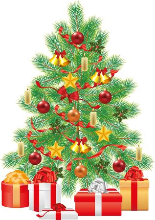 firtree: christmas tree, green fir-tree with decorations photo-realistic illustration