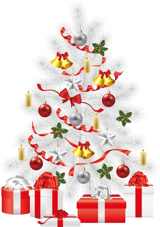 christmas tree, white fir-tree with decorations photo-realistic illustration Vector
