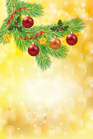 firtree: shiny snowflakes golden christmas vertical background with decorated fir-tree branch