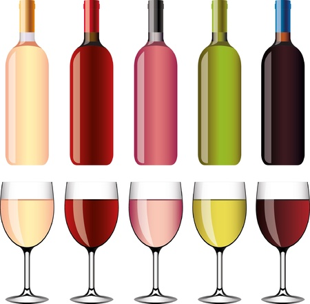 red grape: wine and wineglasses picture-realistic illustration set