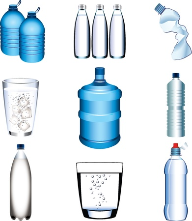 plastic art: water bottle and glasses picture-realistic Illustration set Illustration
