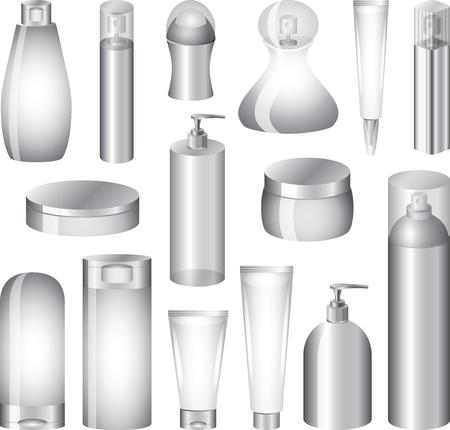 productos de aseo: cosm�ticos botellas y embalajes foto-realista juego de ilustraci�n