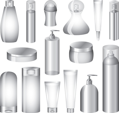 toiletries: cosmetics bottles and packing picture-realistic illustration set