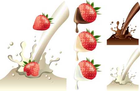 strawberry in milk and chocolate splash pictue-realistic illustration set Vector