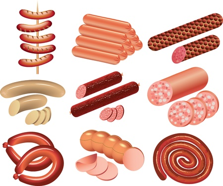 cookout and sausages picture-realistic illustration set