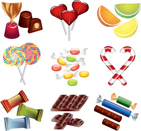 candies picture-realistic illustration set Vector