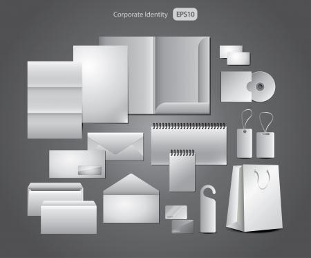 carta identit�: progettazione di cancelleria, modelli aziendali picture-realistica illustrazione set Vettoriali
