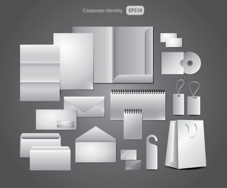 brand identity: stationery design, corporate templates picture-realistic illustration set