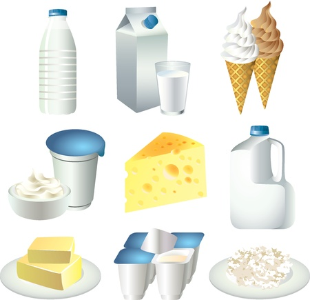 art product: milk products picture realistic illustration set