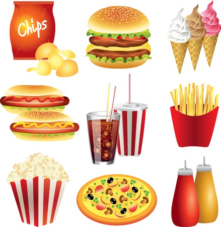 unhealthy food: fast food meals picture-realistic illustration set