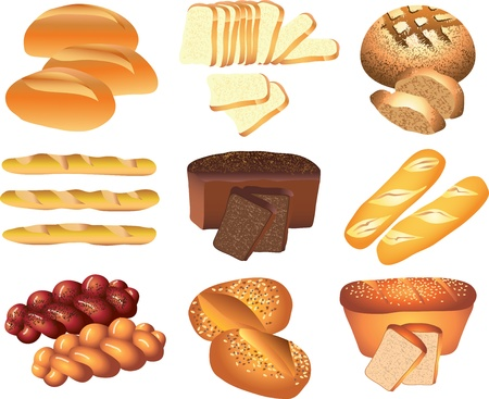 fresh slice of bread: bakery breads picture-realistic illustration set