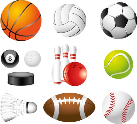 rugby ball: sport balls picture-realistic illustration set