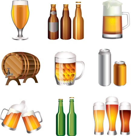 beer picture-realistic illustration set Vector