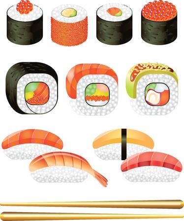 sushi roll: sushi foto-realistica illustrazione set Vettoriali