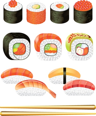 cucumber slice: sushi picture-realistic illustration set Illustration
