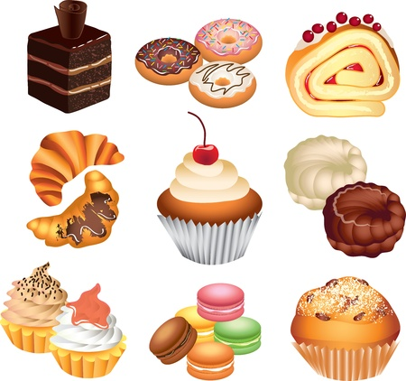 pastries: cakes picture-realistic illustration set