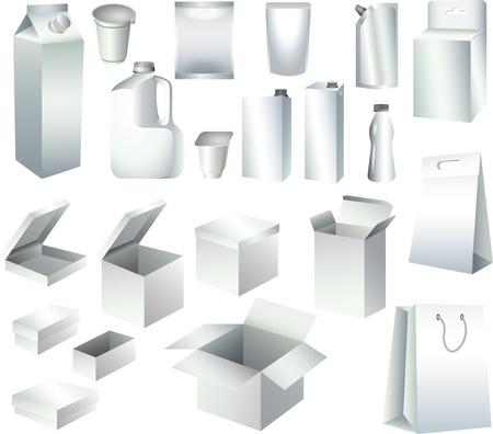 cajas de embalaje de papel y botellas de plantillas foto-realista set ilustración Ilustración de vector