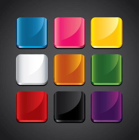 colorful glossy backgrounds for app icons vector set Vector