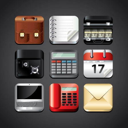 business apps icons for mobile devices detailed vector set Vector