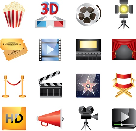 cinema icons vector set Vector