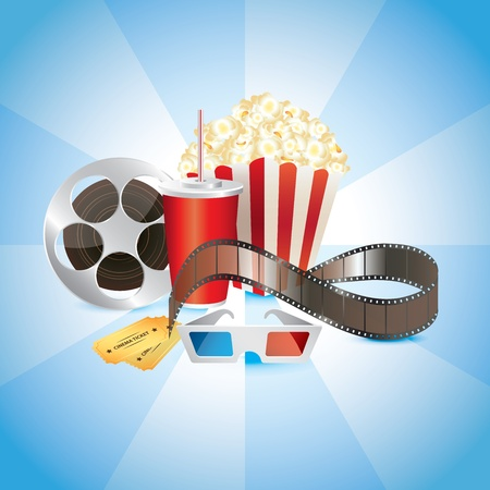 cinematograph: cinemat�grafo, el cine, las palomitas de ma�z, refrescos de cola y gafas 3D vector fotorrealistas