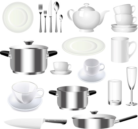 clean kitchen: crockery and kitchen ware photo-realistic vector set