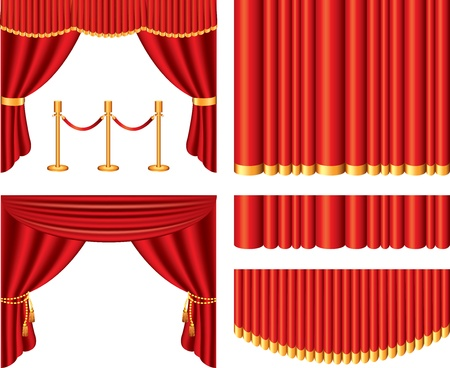 cortinas rojas: cortinas de teatro rojo set vector fotorrealistas Vectores