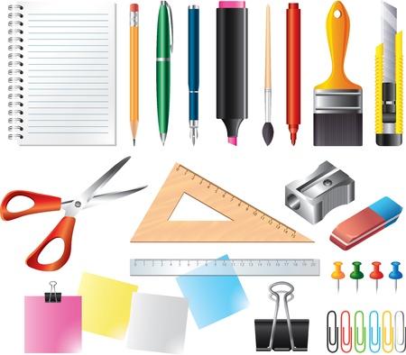 Disegno e strumenti per l'ufficio foto-realistica insieme di vettore
