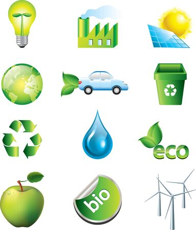 environment and ecology icons vector set Illustration